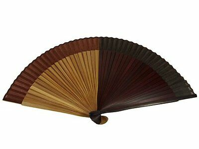Japanese Design Silk Handheld Folding Fan, Maroon and Brown 4 Sections HF-111, N