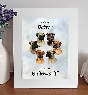 "Bullmastiff 'Life is Better' 10""x8"" Mounted Picture Print Dog Pet Fun Gift Idea"