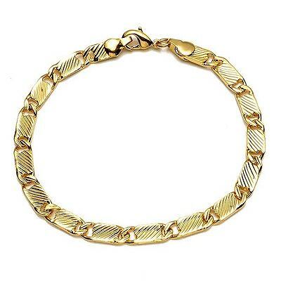 "Men's/Women's Bracelet Chain 18K Yellow Gold Filled 8"" Link Fashion Jewelry HOT"