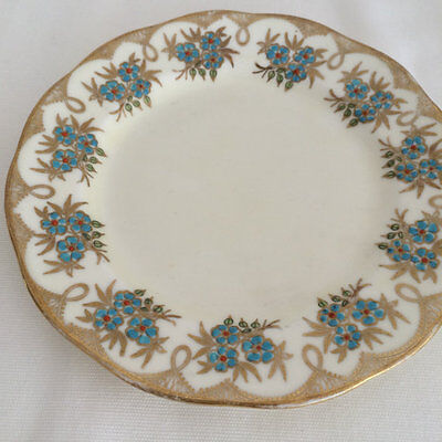 Salisbury China floral patterned side plate Exotic aqua & gold c930/40