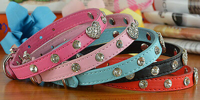 Diamante with Heart Charm Pet Dog Cat Collar Rhinestone Bling PU Leather