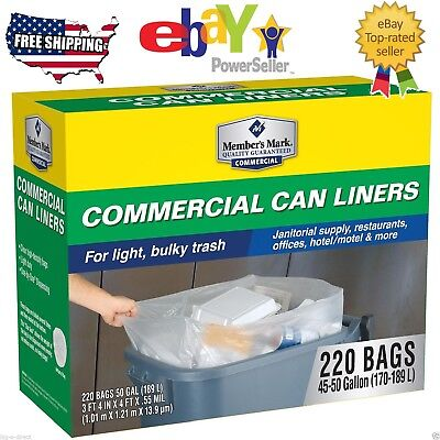 Member's Mark Commercial Can Liners 45-50 Gallon 220 ct Clear Garbage Trash Bag