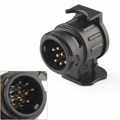 Car Trailer Truck 13 Pin to 7 Pin Plug Adapter Converter Tow Bar Socket Black