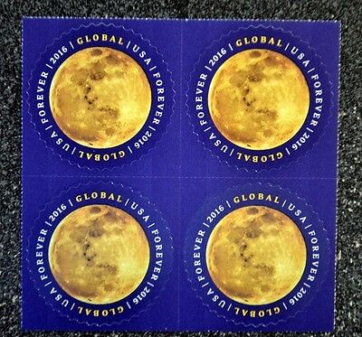 2016USA  #5058  Global Forever Rate - The Moon - Block of 4  Mint   space  sase