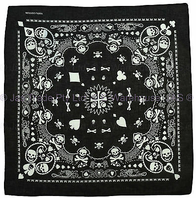 Bandana Head Wrap Cover Black White Paisley Skull Cross Bones Ace Spade POKER