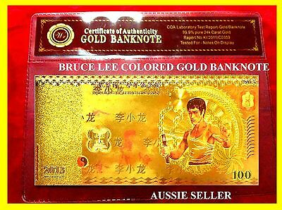 2013 Gold Bruce Lee China Banknote Coloured Gold 100 Yuan  99.9% Note  + Coa