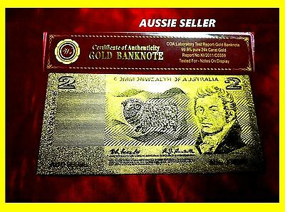 Australian Bank Note Banknote $2 Gold 24Kt  Gold Collectable Banknotes Coa