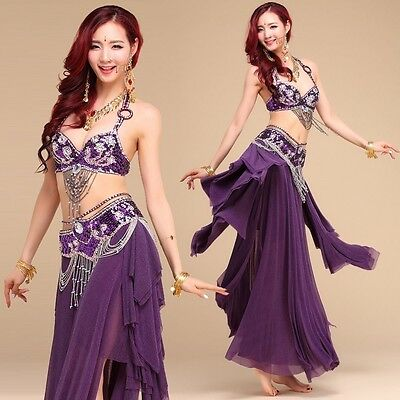 Belly Dance Costume Outfit Set Bra Belt Skirt Samba Rio Carnival Indian Dress