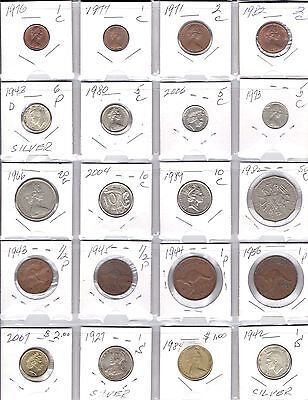 AUSTRALIA Lot of 20 Different Coins - 3 Silver Coins - Nice Australia lot Coins
