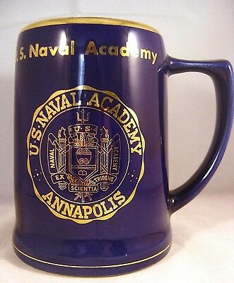 US ANNAPOLIS NAVAL ACADEMY COBALT MUG Large Blue Gold Navy Institute Tankard