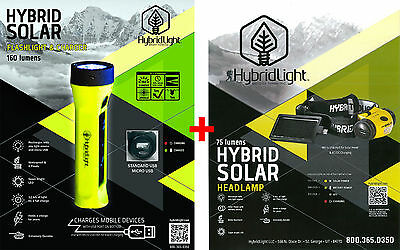 SOLAR Rechargeable Torch HEADLAMP & FLASHLIGHT  COMBO Fishing Boat Camping