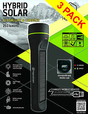 250 LUMENS SOLAR Rechargeable Torch  LED LARGE Waterproof Flashlight  Camping