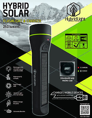 250 LUMENS SOLAR Torch Rechargeable LED LARGE Waterproof Flashlight  Camping