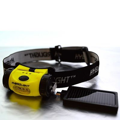 SOLAR Rechargable Headlamp LED Head Torch WATER RESISTANT Fishing Boat Camping
