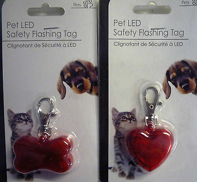 Pet LED Dog or Cat Safety Love Heart or Bone Clip on Flashing Tag