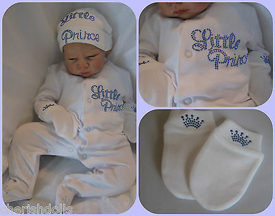 Reborn Baby Doll Or New Baby Prince Set Rhinestone Bling Outfit Newborn Gift