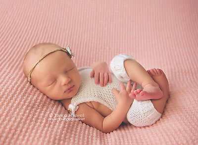 Hand Knitted Baby Cotton Poser Romper Photography/Photo Prop Newborn Boy/Girl