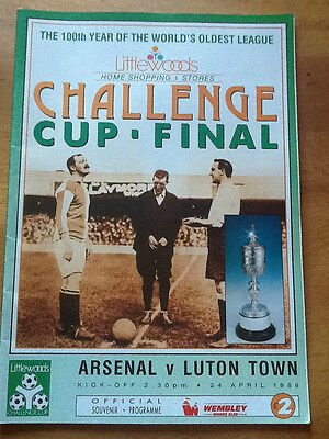 Arsenal v Luton Town League Cup Final 24/04/1988