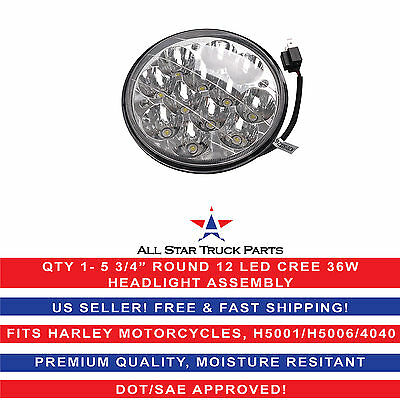 "5-3/4"" LED HID Cree Light Bulb Crystal Clear Headlight Fits: Harley Motorcycle"