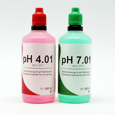 MENSURA pH Eichlösung 100ml + 100ml (4,50€/100ml) pH4+pH7 Kalibrierlösung Buffer