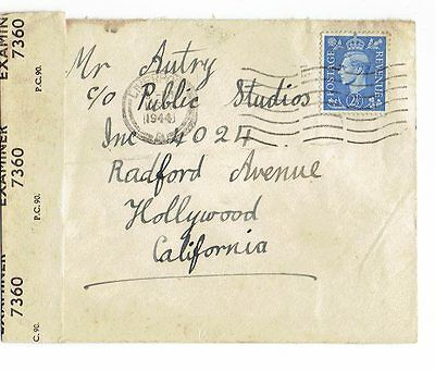 Wwii British Censored Cover To The U.s.- Sgt. Gene Autry Fan Mail 1944