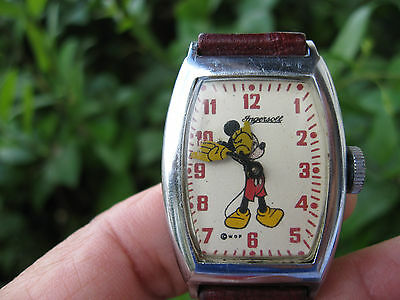Mickey Mouse Ingersol 1940' Warner B. Prod. Usa Wrist Watch With Leather Band