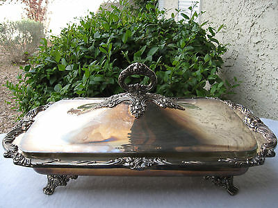 Reed&barton Antique Huge Silverplated Covered Serving Dish/casserole/tray Pyrex