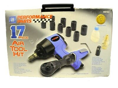 GM Impact Wrench, Air Ratchet Air Tool Kit  - 17 Pc. Very Nice!