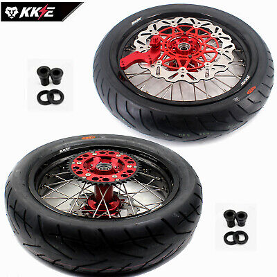 4.25*17 Supermoto Motard Wheels Rims Set & Tire Fit Honda Xr650R 00-08 Sprocket