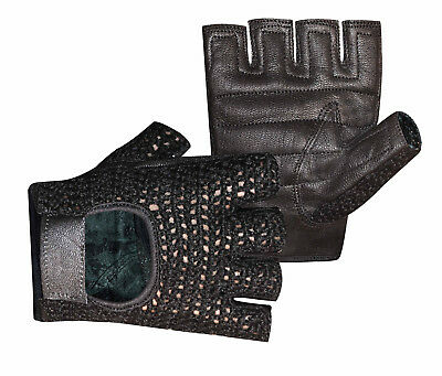 Mesh Crochet Leather Palm Half Finger All Sports Working Driving Gloves