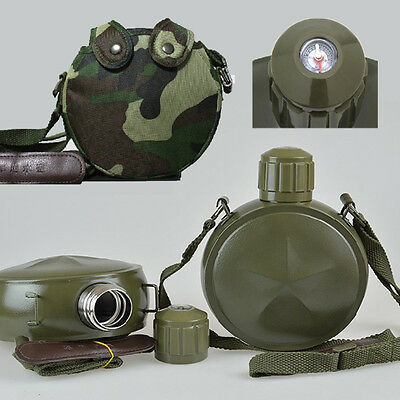 Army Green Outdoor Hiking Military Kettle Flasks Steel Canteen Water Bottle+Bag
