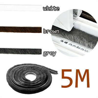 5M Weather Brush Pile Strip Window Door Draft Draught Excluder Insulation Roll
