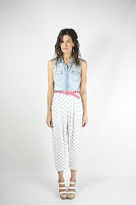 Vintage Polka Dot Capri's High waisted Cropped trousers 80s 90s Small Medium