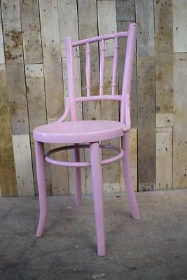 Retro Vintage Single Pink Painted Bentwood Single Bedroom / Hallway Chair