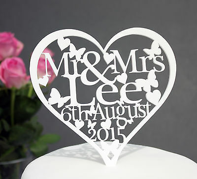 Heart Shaped Wedding Cake Topper Decoration Personalised With Name & Date