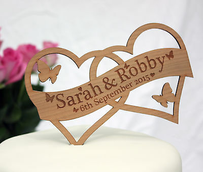 Personalised Wedding Cake Topper Decoration With Name & Date In Cherry Wood