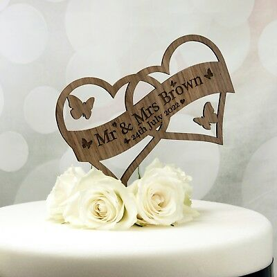 Personalised Wedding Cake Topper Decoration With Name & Date In Walnut Wood