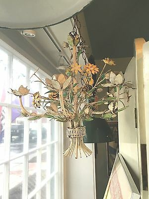 Vintage Italian Painted Metal Tole Whimsical Floral Chandelier Fab Mid Cent Mod