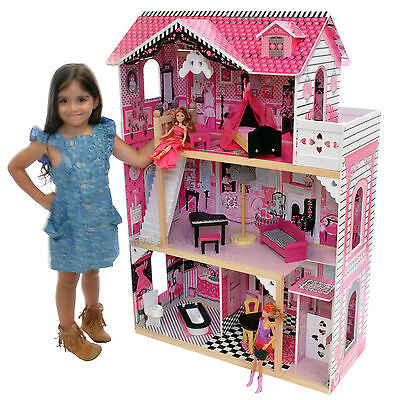 Alexandra Wooden Doll House with Elevator 13 pc Furniture Large Girls Toy