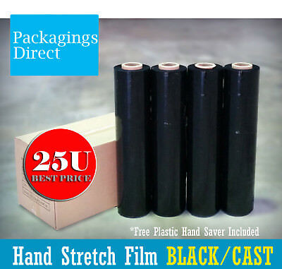 4 Rolls 500mm x 400m BLACK 25U - Hand Stretch Film for Pallet Carton Shrink Wrap