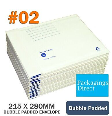 100 x Bubble Mailer #02 215X280MM Padded Bag Envelope Cushioned 215mm x 280mm