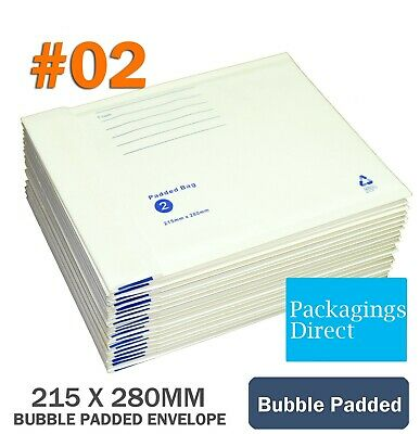 100x Bubble Mailer #02 215X280MM Padded Bag Envelope Cushioned 215mm x 280mm