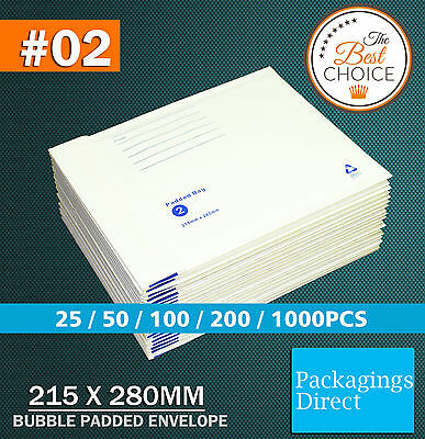 Bubble Mailer #02 215X280MM Padded Bag Envelope Cushioned - White 215mm x 280mm