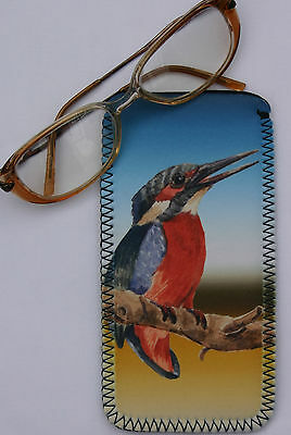 KINGFISHER bird spectacle glasses case pouch bird lover Sandra Coen sublimation