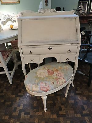 Antique Shabby Painted Drop Front Writing Desk