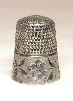 Antique Simons Bros. Sterling Silver Thimble  Etched Leaves & Flower Decoration