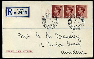 1936 KEVIII REGISTERED FDC GLASSEL Aberdeenshire