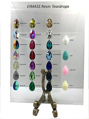 EIMASS® Sew or Glue on Resin Crystals, Flat Back Teardrop Shape Gems for Costume