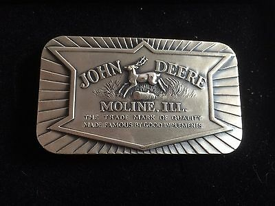 1984 John Deere Pewter Belt Buckle 1936 Historical  Leaping 4 Leg Deer big