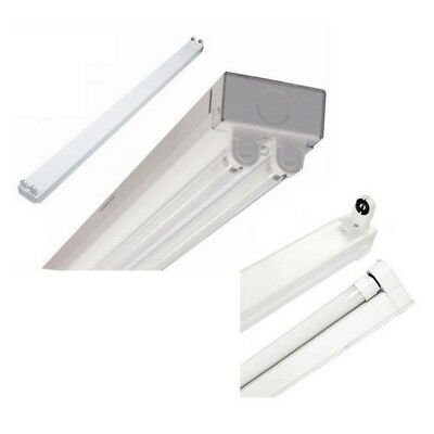 LED Indoor 4 Foot Batten Fixture Day White 5000k Single Or Double With Plug